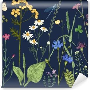 Fotomural Estándar Conjunto drenado mano con hierbas y flores