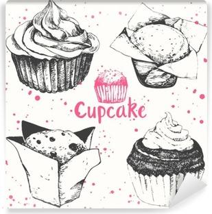 Fotomural Estándar Cupcakes y magdalenas. Conjunto de pasteles dibujados a mano.