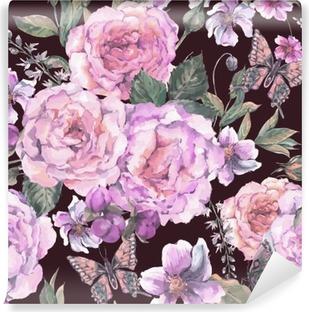Fotomural Estándar De fondo sin fisuras con las rosas y la mariposa