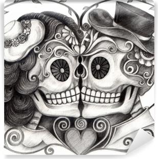 Fotomural Arte Surrealista Pulpo Cráneo Dibujo A Lápiz De La Mano