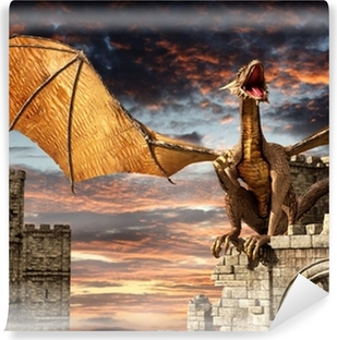 Fotomural Estándar Dragón en el castillo