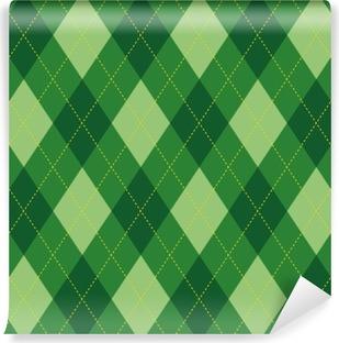 Fotomural Estándar El modelo de Argyle rombo verde textura fluida, ilustración