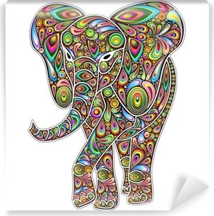 Fotomural Estándar Elefante Psychedelic Pop Art Design en Blanco