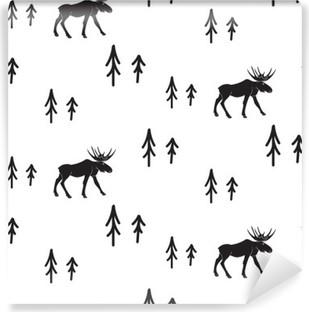 Fotomural Estándar Estilo simple blanco y negro sin fisuras patrón ciervos escandinavo. Ciervos y pinos modelo monocromático silueta.