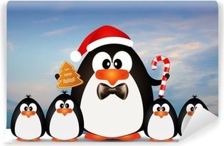 Vinilo Para Puerta Familia De Los Pingüinos En Navidad Pixers