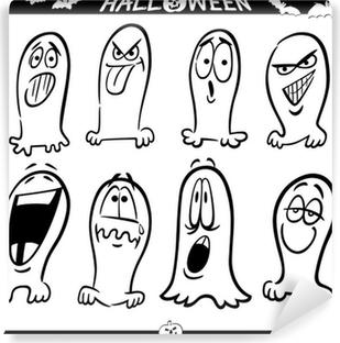 Vinilo Pixerstick Fantasmas De Halloween Para Colorear Emoticonos