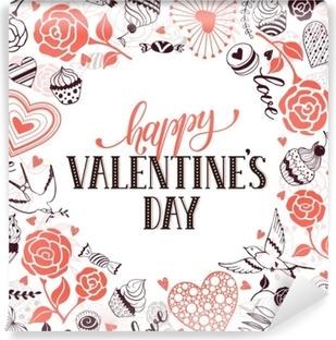 Vinilo Pixerstick Feliz Día De San Valentín Tarjeta De