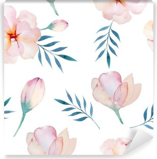 Fotomural Estándar Fondo de pantalla transparente con flores estilizadas, illustratio acuarela
