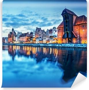 Fotomural Estándar Gdansk, Polonia casco antiguo, río Moldava. Famosa grúa Zuraw