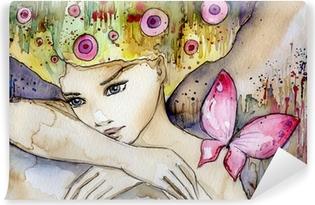 Fotomural Estándar Hermosa chica con mariposa