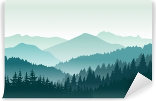 Fotomural Estándar Hermoso paisaje de montaña. ilustración vectorial