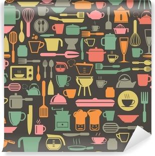 Fotomural Estándar Herramientas de la cocina sin patrón, con colores retro, formato vectorial