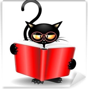 Fotomural Estándar Historieta del gato negro de nuevo a la escuela con el libro-Gatto Nero con Libro
