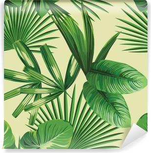 Fotomural Estándar Hojas de palmera tropical de fondo sin fisuras