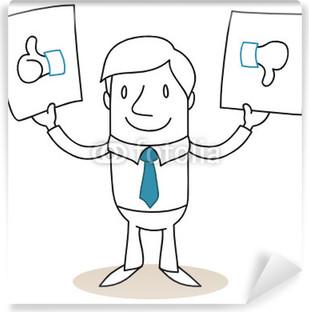 Fotomural Estándar Hombre de negocios firma, con los pulgares hacia arriba / abajo