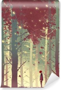 Fotomural Estándar Hombre de pie en el bello bosque con las hojas que caen, pintura ilustración