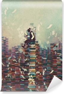 Fotomural Estándar Hombre leyendo el libro mientras está sentado en la pila de libros, el concepto de conocimiento, pintura ilustración