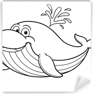 Ilustración De Dibujos Animados Ballena Libro Para Colorear