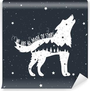Fotomural Estándar Ilustración del vector con el lobo del grito, montañas y árboles
