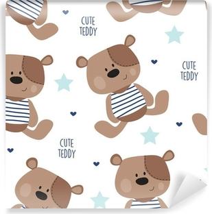 Fotomural Estándar Ilustración sin patrón de vectores oso de peluche