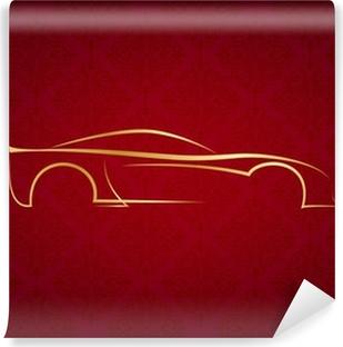 Fotomural Estándar Insignia del coche caligráfico abstracto en fondo rojo