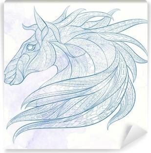 Fotomural Estándar La cabeza con dibujos del caballo sobre el fondo del grunge. África / diseño indio / tótem / tatuaje. Se puede utilizar para el diseño de una camiseta, bolsa, tarjeta postal, un cartel y así sucesivamente.