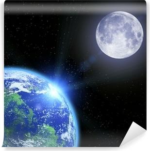 Fotomural Estándar La tierra a la luna y las estrellas en el espacio