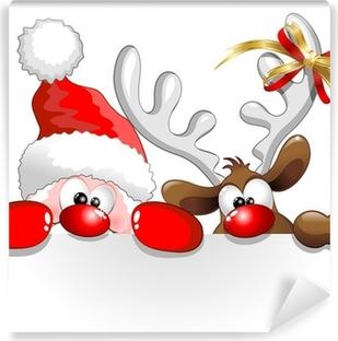 Fotomural Lavable Babbo Natale e Renna-Santa Claus y los renos de fondo