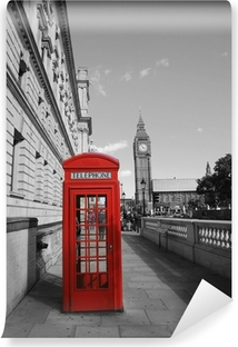 Fotomural Lavable Big Ben y cabina de teléfono rojo