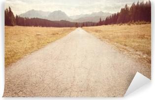 Fotomural Lavable Camino hacia las montañas - Imagen de la vendimia