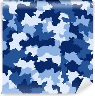 Fotomural Lavable Camuflaje azul, seamless, patrón