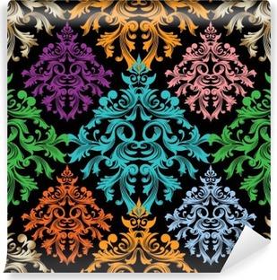 Fotomural Lavable Damasco pattern.Colorful del vector del damasco floral transparente barroco pattern.Damask wallpaper.Damask fondo.