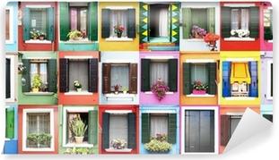 Fotomural Lavable Finestre colorate di Burano