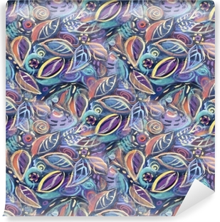 Fotomural Lavable Fondo colorido con hojas, pintura acrílica. Fondo de follaje abstracto de patrones sin fisuras para su diseño fondos de pantalla, rellenos de patrón, fondos de página web, texturas superficiales.