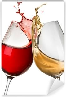 Fotomural Lavable Las salpicaduras de vino en dos copas de vino