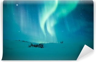Fotomural Lavable Luces del Norte (Aurora borealis) por encima de la nieve