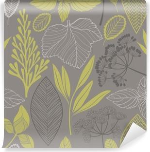 Fotomural Lavable Modelo inconsútil floral abstracto. Vector de fondo __with diferentes hojas