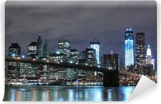 Fotomural Lavable Puente de Brooklyn y Manhattan horizonte en la noche, New York City