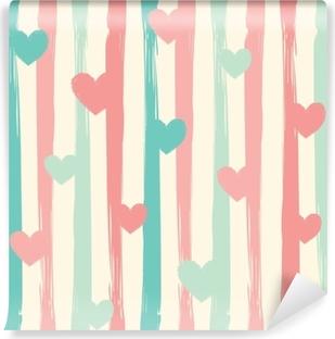 Fotomural Lavable Rayas y corazones en colores pastel. patrón de vector inconsútil.