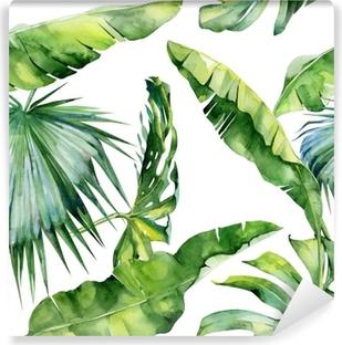 Fotomural Lavable Seamless acuarela ilustración de las hojas tropicales, densa selva. Patrón con motivo de verano trópico se puede utilizar como textura de fondo, papel de embalaje, textiles, diseño de papel tapiz.