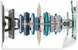 Fotomural Lavable Símbolos de Nueva York City, USA. Aislado en blanco.