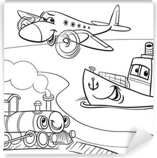 Cuadro En Lienzo Tren Barco Avión Para Colorear De Dibujos Animados