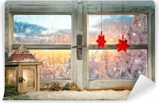 Fotomural Lavable Ventana de la Navidad atmosférica decoración alféizar
