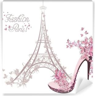 Fotomural Lavable Zapatos de tacón alto en el fondo de la Torre Eiffel. La moda de París