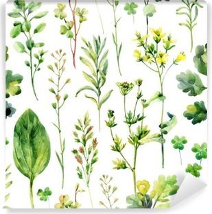 Fotomural Estándar Malezas y hierbas sin patrón prado de la acuarela