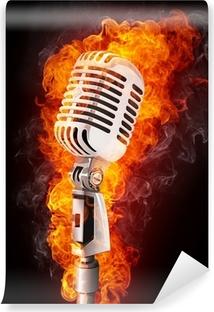 Fotomural Estándar Micrófono en Fuego