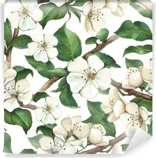 Fotomural Estándar Modelo con las flores de la manzana de la acuarela