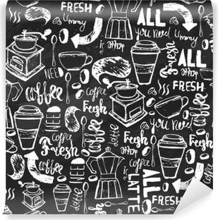 Fotomural Estándar Modelo inconsútil de café dibujado a mano sin fisuras. Modelo del café con letras. Modelo del vector de café sobre un fondo oscuro para el envasado, banners.
