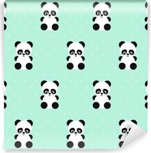 Fotomural Estándar Modelo inconsútil de Panda en lunares fondo verde. Diseño lindo para impresión en la ropa del bebé, textil, papel pintado, tela. Vector de fondo con la sonrisa de la panda animal del bebé. estilo de ilustración infantil.