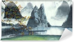 Fotomural Estándar Montañas chinas, niebla, lago